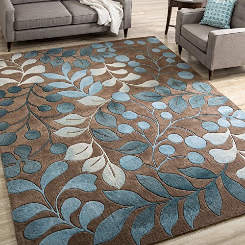 3'6 x 5'6 Plush Hand-tufted Floral Leaf Contours Botanical Mocha Area Rug, Polyester Sky Flower Colorful Peacock Soft Casual Hippy Sophisticated, Rectangle Livingroom Kitchen Accent Carpet