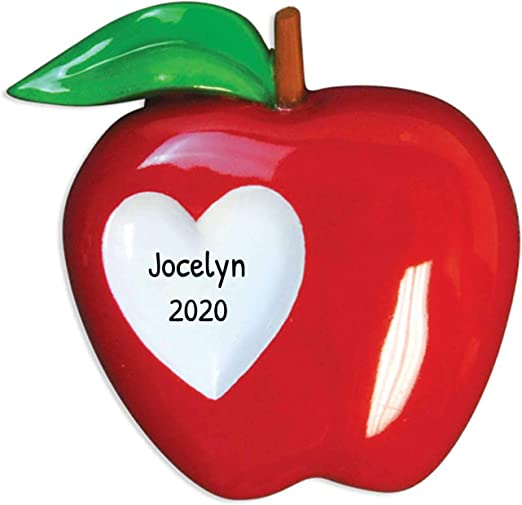 Apple Christmas 2020 Amazon.com: Personalized Teacher Apple Christmas Tree Ornament