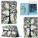 iPad Mini Case - LittleMax(TM) Synthetic Leather Auto Wake/Sleep Stand Case [Card Holder] Flip Folio Wallet Case Cover for iPad Mini 3/2/1 [Free Cleaning Cloth,Stylus Pen]--03 Life Tree