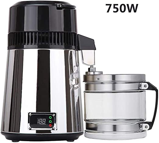 UFLIZOGH Destilador de Agua Purificador Profesional de Acero Inoxidable 4L 750W con Botella de Conexión del Filtro de Agua para Uso doméstico Laboratorio: Amazon.es: Hogar