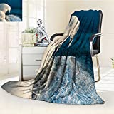 Microfiber Fleece Comfy All Season Super Soft Cozy Blanket frozen bank on a river in winter for Bed Couch and Gift Blankets(90''x 70'')