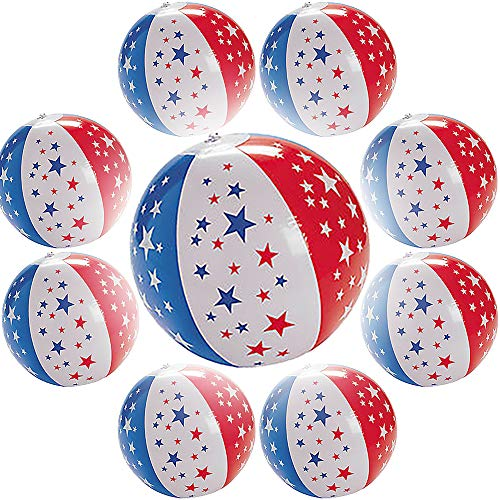 9 Inch Patriotic Star Beach Balls Inflatables US Flag Design for Swimming Pool Party, Birthday Parties, Summer Fun Toy (8-Pack)