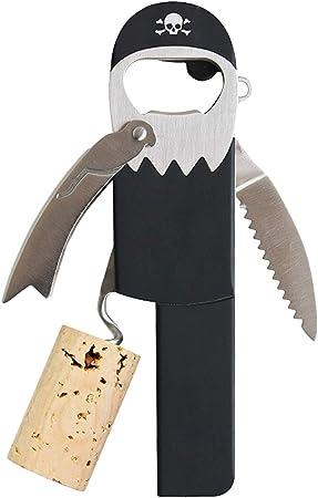 Abridor de botellas manual en diseño de pirata; el sacacorchos multiusos con cortador de papel, y ab