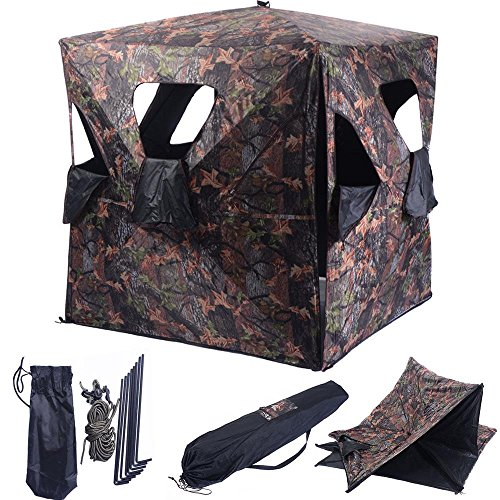 Blind & Tree Stand Accessories Ground Hunting Blind Portable Deer Pop Up Camo Hunter Weather Proof Mesh Window (Stand Tree Rotating Reviews Christmas)