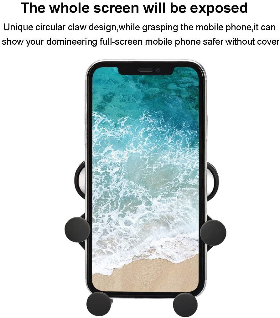 Gravity Car Phone Mount Suitable for 5-6.5 Inch Smart Phone Holder-Silver Spring Phone Holder for Car Vents Compatible for iPhone 11 Pro Xs MAX//XR//X//8 7 Plus Galaxy S10//S10 Plus//S10e//8//S7