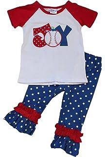BNY Corner Little Girl Kids Sleeveless Ruffles Baseball Heart Pants Set 2T-8