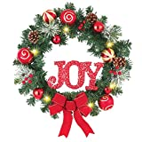 "18"" Battery Operated Lighted Christmas ""JOY"" Wreath with Ornaments, Berries and Pinecones"