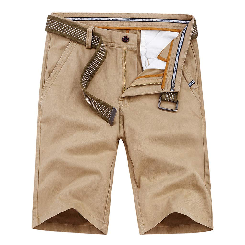 iYBUIA Mens Cargo Shorts Pure Color Outdoors Beach Short Pants Work with Pocket