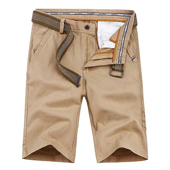 LuckyGirls Hombres Pantalones de Cargo Verano Color Sólido Casual ...