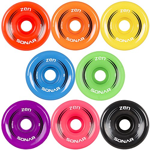 New! Riedell Sonar Zen Quad Outdoor Replacement Skate Wheels 8 Pack! (Green)