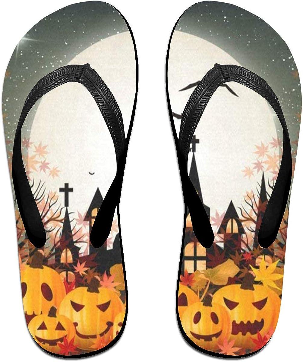 Flip Flops Halloween Maple Leaf Pumpkin Womens Outdoor Slippers Top Sandals for Boys