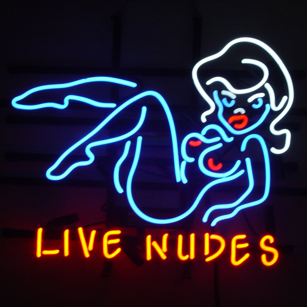 Fashion New Live Nudes Bar Girl Real Glass Beer Bar Neon Light Sign 19inx15in