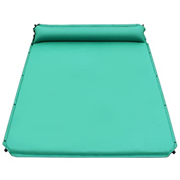 autohinchable colchones hidrófugo Colchón de aire portátil camping Isomatte Matte - Vade con almohada con para camping, 3.5 cm de grosor Dos personas, ...