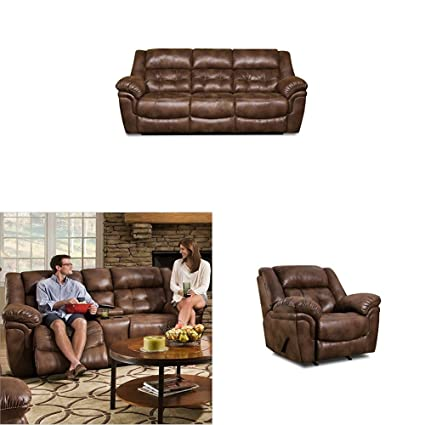 Awesome Simmons Upholstery Wisconsin 3 Pc Living Room Set With Sofa Love Seat Recliner And Ottoman Chocolate Pabps2019 Chair Design Images Pabps2019Com