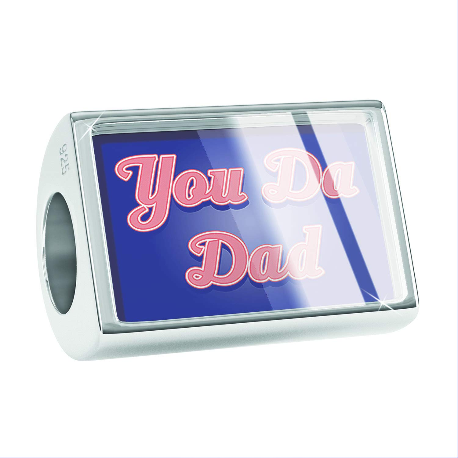 NEONBLOND Custom Charm You Da Dad Fathers Day Classic Red White and Blue 925 Sterling Silver Bead