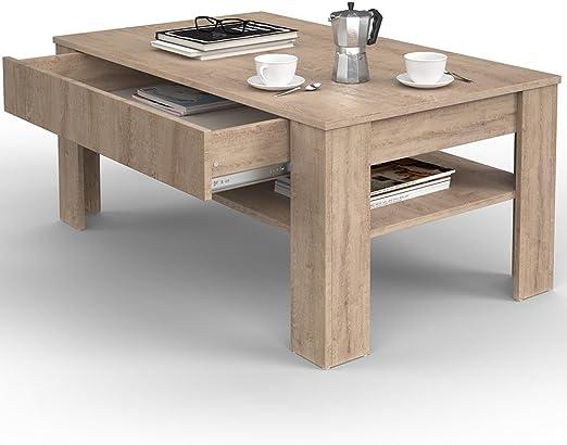 Vicco – Mesa de café con cajón (Roble Sonoma 110 x 65 cm Salón ...