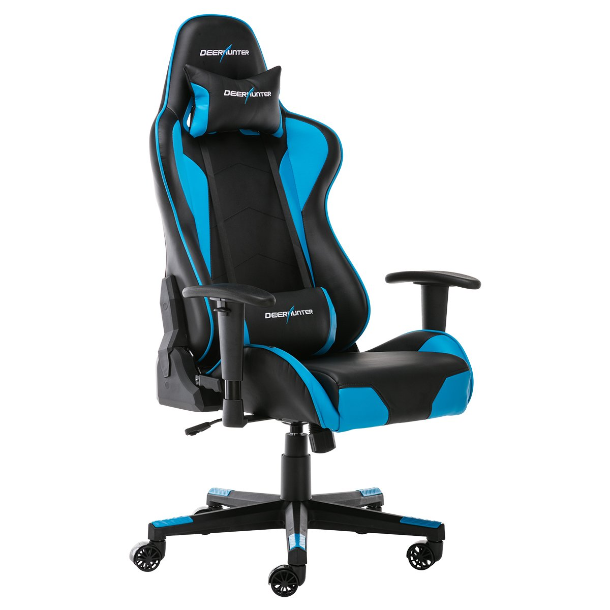 Deerhunter Gaming Chair, Leather Office Chair, High Back Ergonomic Racing Chair, Adjustable Computer Desk Swivel Chair with Headrest and Lumbar Support (Blue&Black)