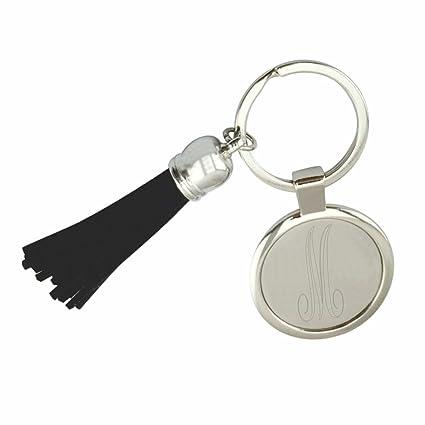 Personalizado Llavero con el monograma negro borla de acero ...