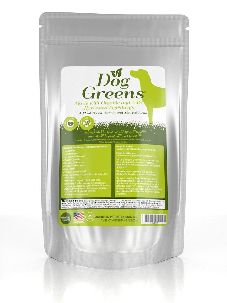DOG GREENS- Organic and Wild Harvested Vitamin and Mineral Supplement for Dogs – Add to Home Made Dog Food, RAW Food or Kibble such as Wellness, Blue dog, Fromm, Orijen, Acana, Natural Balance , Solid Gold etc – No Hassle-30 Day Money Back Guarantee! 12 Oz