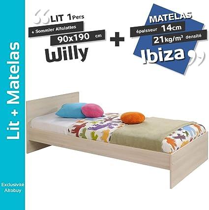 Willy – Pack Cama 90 x 190 cm + somier altolattes + colchón ...