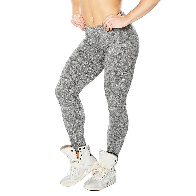 SHOBDW Mujeres Sólido Cintura Alta Push Up Estiramiento Yoga Skinny Fitness Leggings Entrenamiento Mallas para Correr Gimnasio Pantalones Deportivos ...