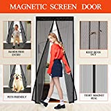 #8: Magnetic Screen Door, Veidoo Open and Close Automaticly Heavy Duty Magnetic Mesh Curtain with Full Frame Velcro, Fits Door Size Up to 36 x 82 Inch (Black)