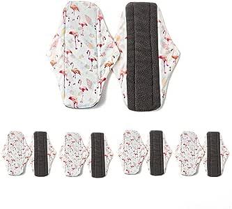 Compresas lavables para mujer (18 x 18 cm), con bolsa húmeda, ropa de noche con alto rendimiento para compresas mensuales, 6 unidades: Amazon.es: Belleza