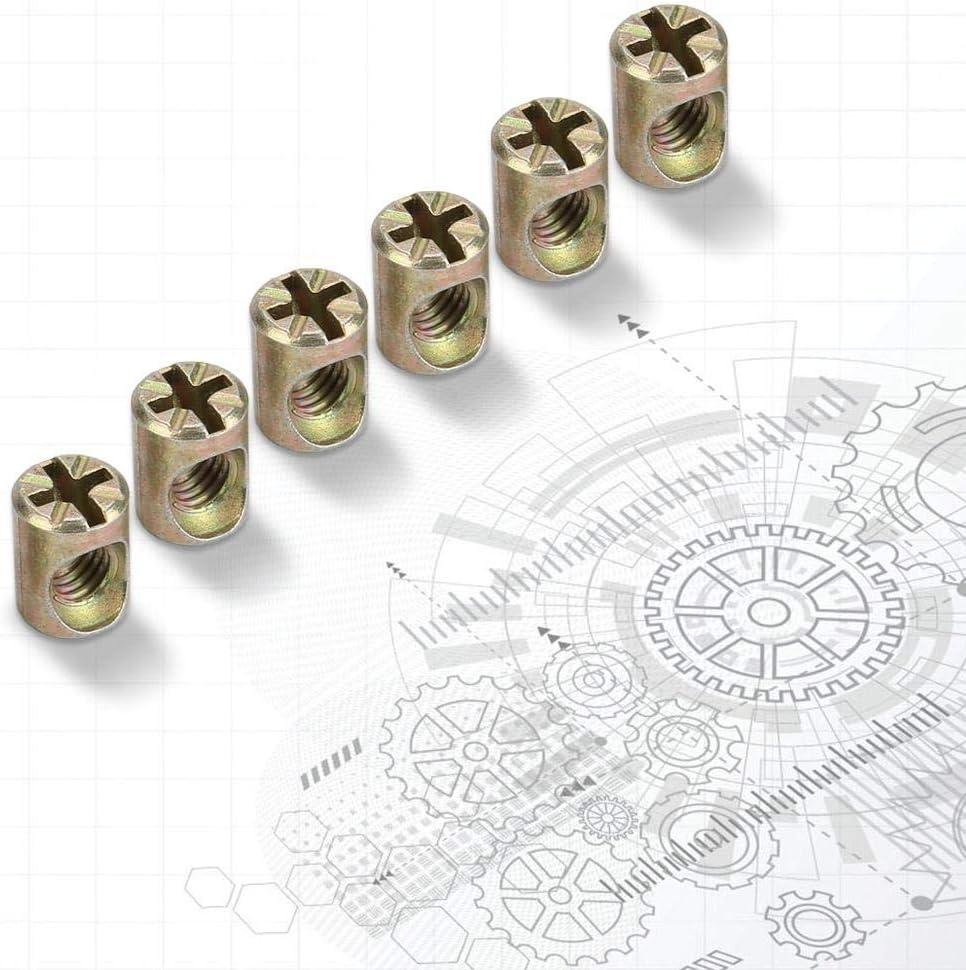 Furniture Barrel Nut,30pcs M6 Furniture Barrel Nut Dowel Cabinet Connectors Embedded Nuts Fasteners