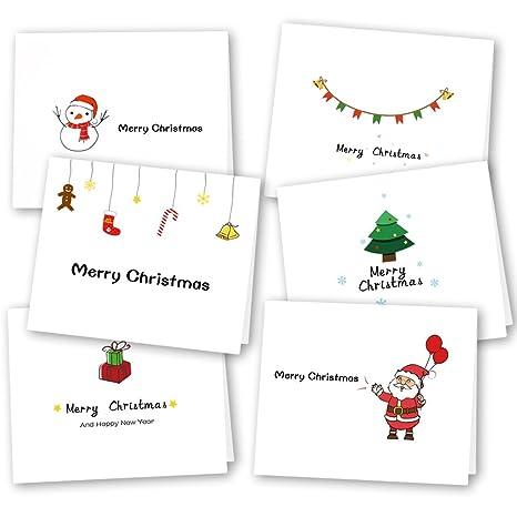 Cartoline Di Auguri Di Natale.Kuuqa 36 Pezzi 6 Disegni Cartoline Di Auguri Di Natale Con Buste E