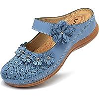 gracosy Zuecos para Mujer Cuero PU Verano Loafer Tacón Bajo Mules Zapatillas de Playa Planos Zapatos Antideslizantes…