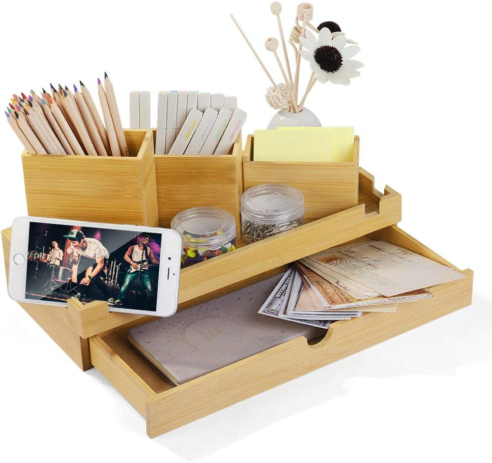 Bamboo Desktop Organizer with Drawer 3 Pencil Box Supply Holder And Phone Holder Slots for Home, Office and School Mail, Letter, Pencils, Scissors, Notepads