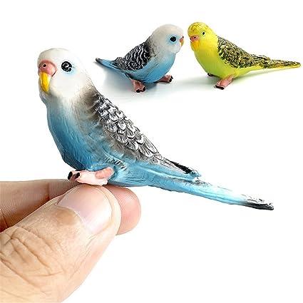 Kimkoala Bird Decorative Figurines 2 Pcs Simulation Mini Cute Parrot Bird Figures Animal Model Toys For Home Decor Miniature Fairy Garden Decoration