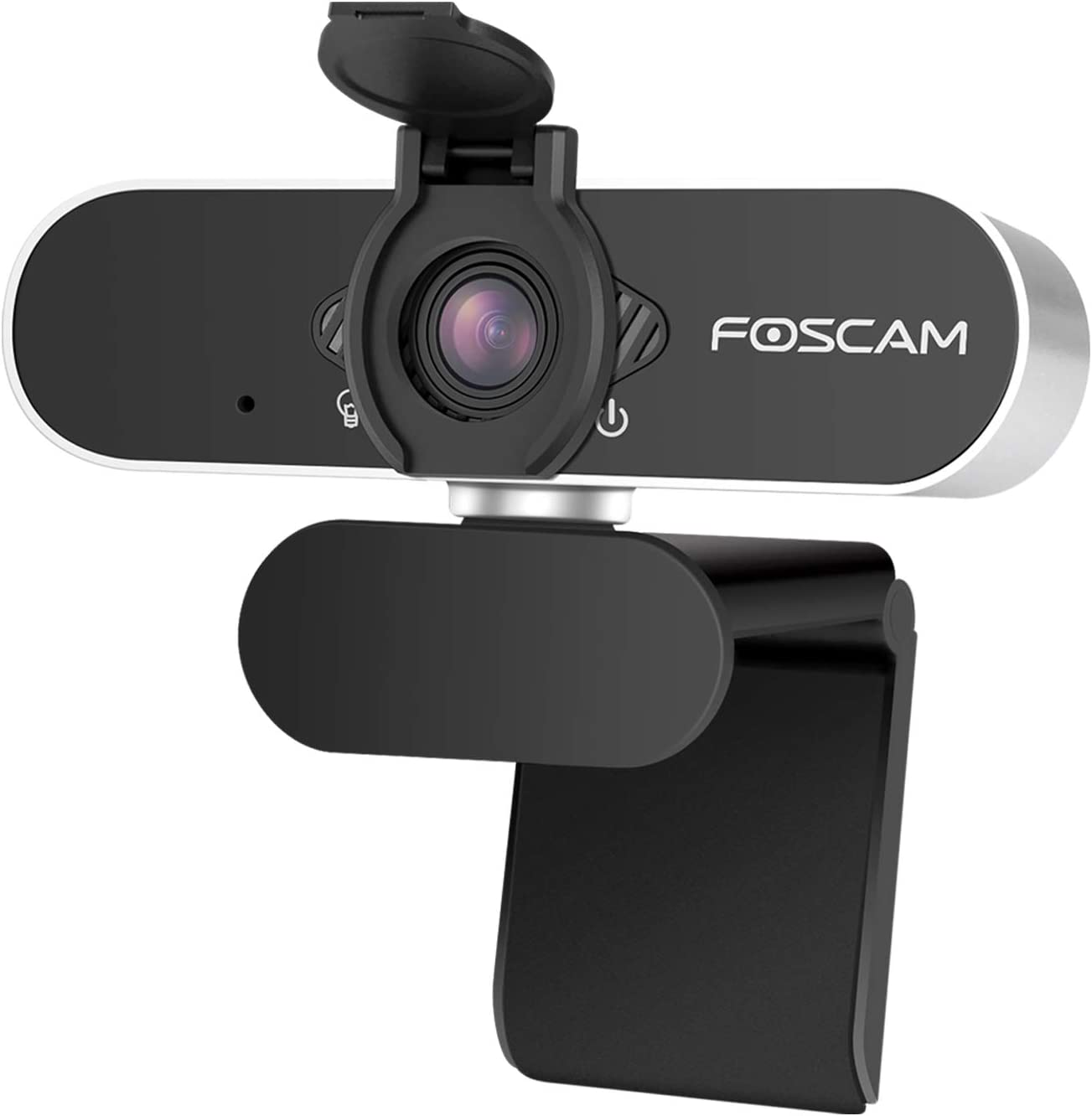 Webcam with Microphone for Desktop Laptop, Foscam 1080P HD USB Streaming Web Cam for Windows Mac OS, Conference, Gaming, Courses, Flexible Mount, Privacy Cover Inlcuded, Business Grade
