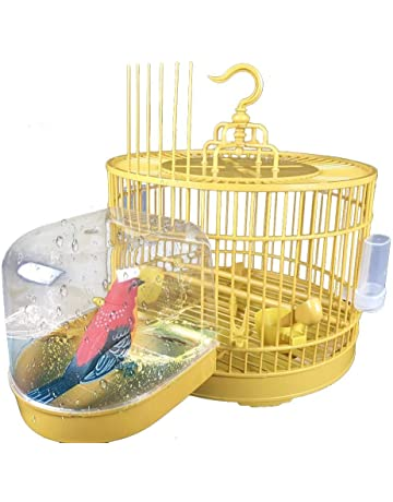 Pet Supplies Cages & Accessories perfk Bird Bathtub Bath Clean Box Toy Accessory for Budgie Canary Finches Cage Clip-on 13 x 13 x 13 cm White
