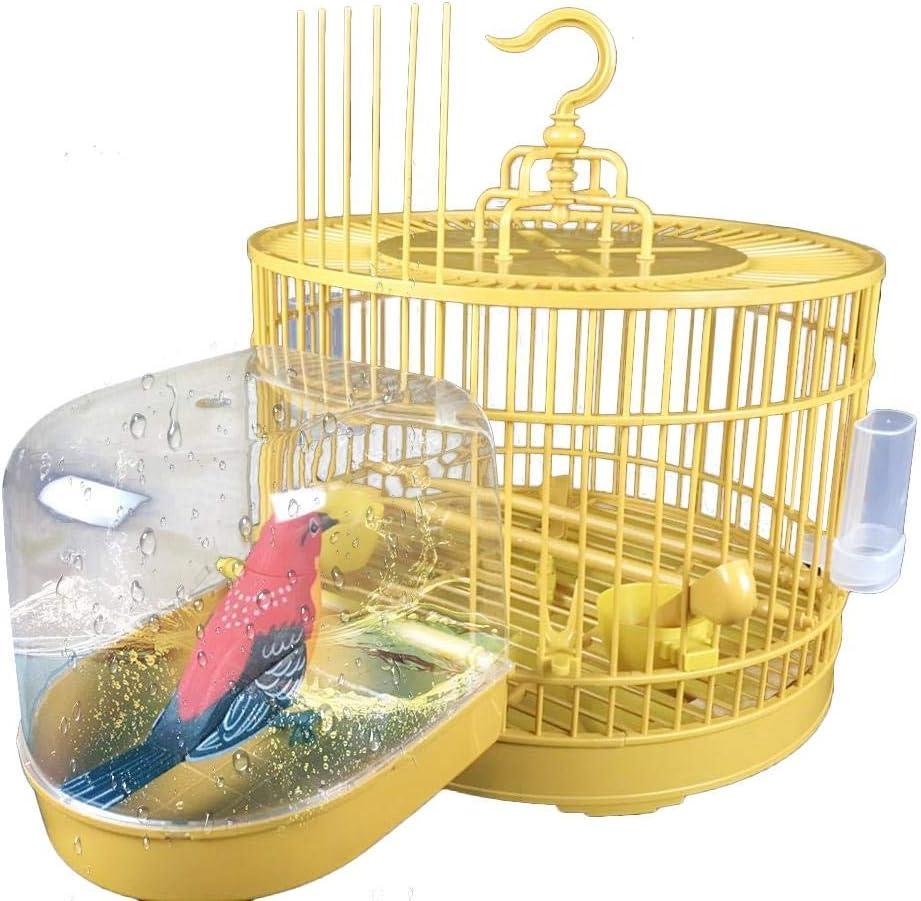 julyso Magaryes Jaula De Pájaros con Caja para Bañera De Pájaros Suministros para Mascotas Loro para Bañera Ducha Estantería. marvelously Proficient Usefulness