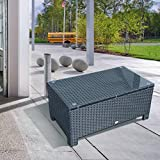Outsunny Rattan Garden Furniture Coffee Table Patio Iron Frame Tempered Glass (Black)