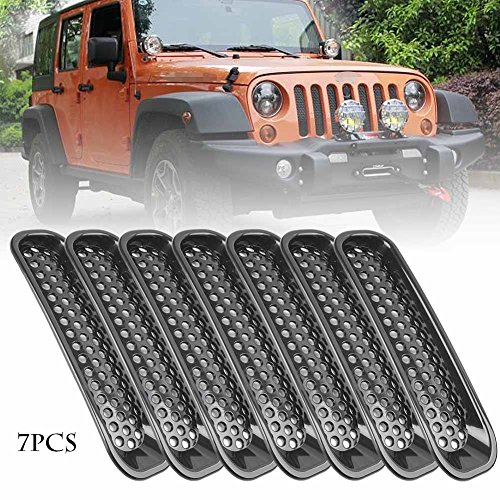 (Nathan-Ng - Front Insert Mesh Grille Grill Trim Kit for Jeep Wrangler JK 2007 2008 2009 2010 2011 2012 2013 2014 2015 Black ABS)