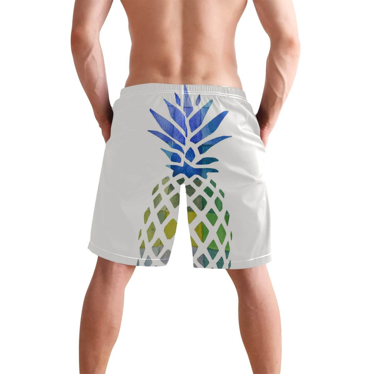 Pineapple Pattern Mens Beach Shorts Swim Trunks Stripe Quick Dry Casual Polyester Swim Shorts