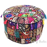 Eyes of India 22 X 12 Black Round Ottoman Pouf Pouffe Cover Floor Seating Bohemian Boho Indian