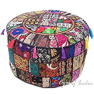 "Eyes of India - 22 X 12"" Black Round Ottoman Pouf Pouffe Cover Floor Seating Bohemian Boho Indian"