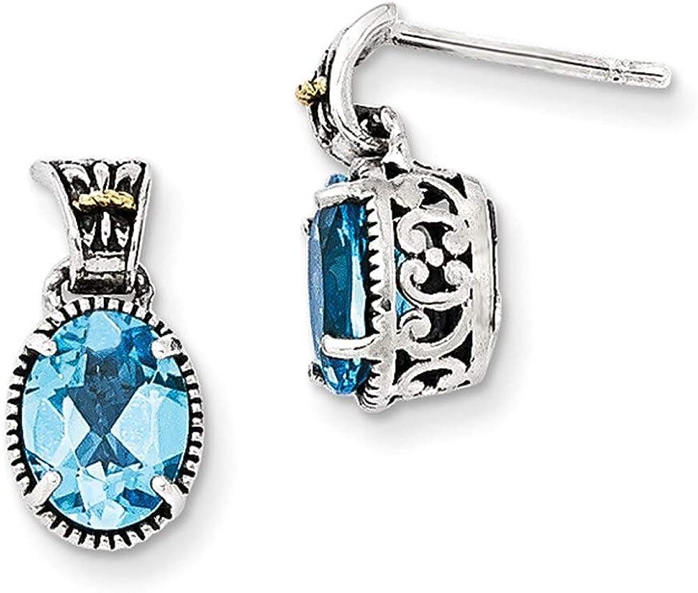 Lex /& Lu 14k Yellow Gold w//Sterling Silver Blue Topaz Earrings LAL80086