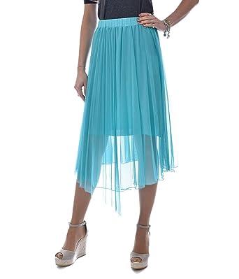 PATRIZIA PEPE Falda Mujer Tul Verde Agua 1G1415/A3HHX G454: Amazon ...