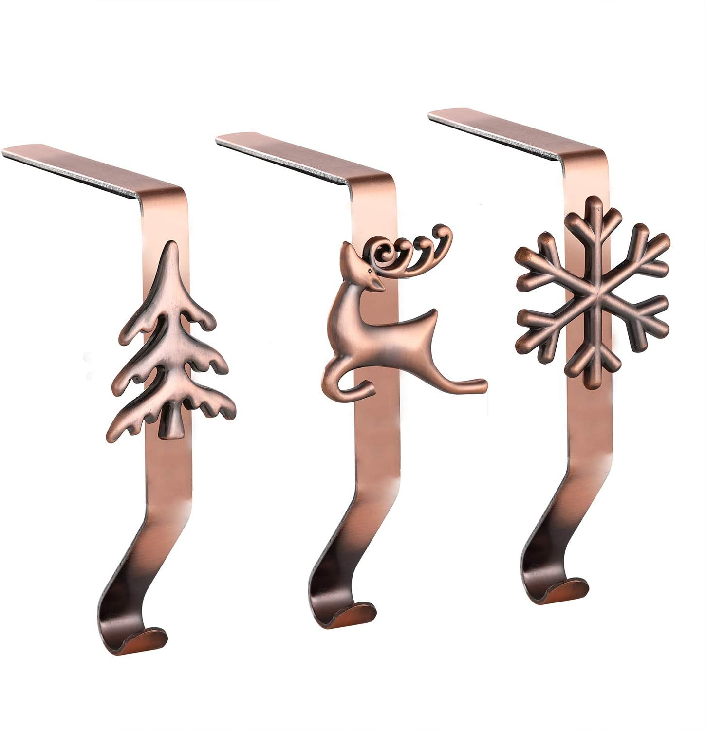 Set of 3 Stocking Holders for Mantle - Christmas Stocking Holder for Mantle Christmas Stocking Hangers for Mantel Stocking Hooks for Fireplace Stocking Holders for Christmas Decoration (Red Copper, 3)