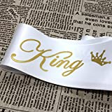Ikooo 2 Pcs Prom King and Queen Satin Sash Gold letter with Crown Sash