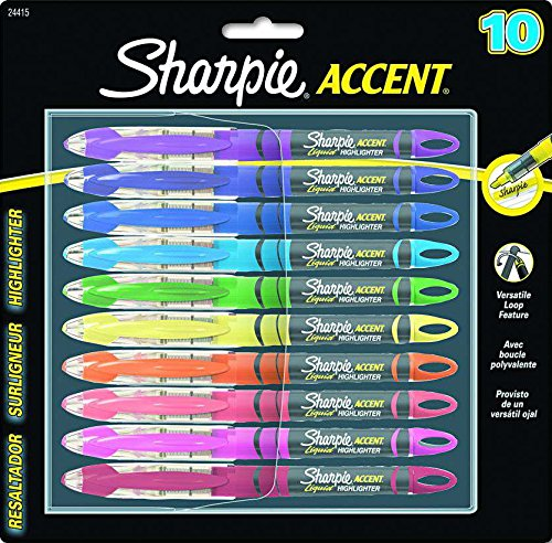 Sharpie Accent Pen Style Liquid Highlighter Chisel Tip 10 Pack Assorted Colors (24415PP)