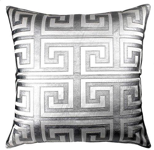 Edie 24X24 Applique Decorative Pillow  Large  White Silver