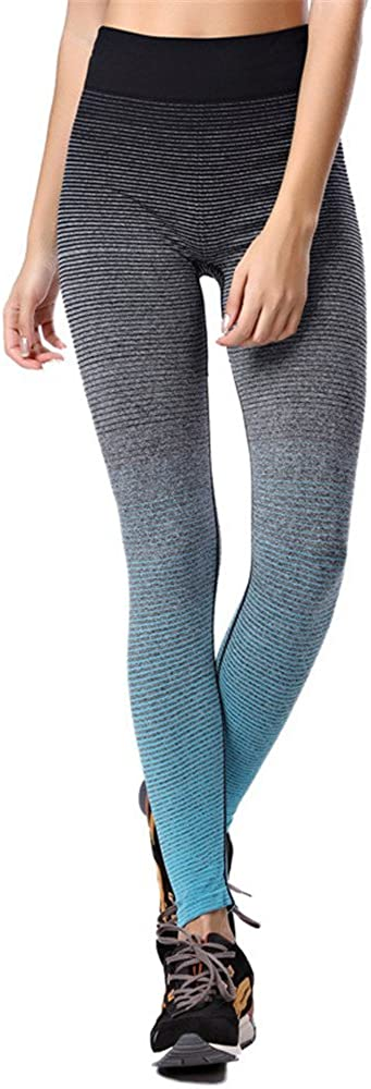 Womens Ombre Full Ankle Length Tights Active Yoga Running Pants Workout Leggings