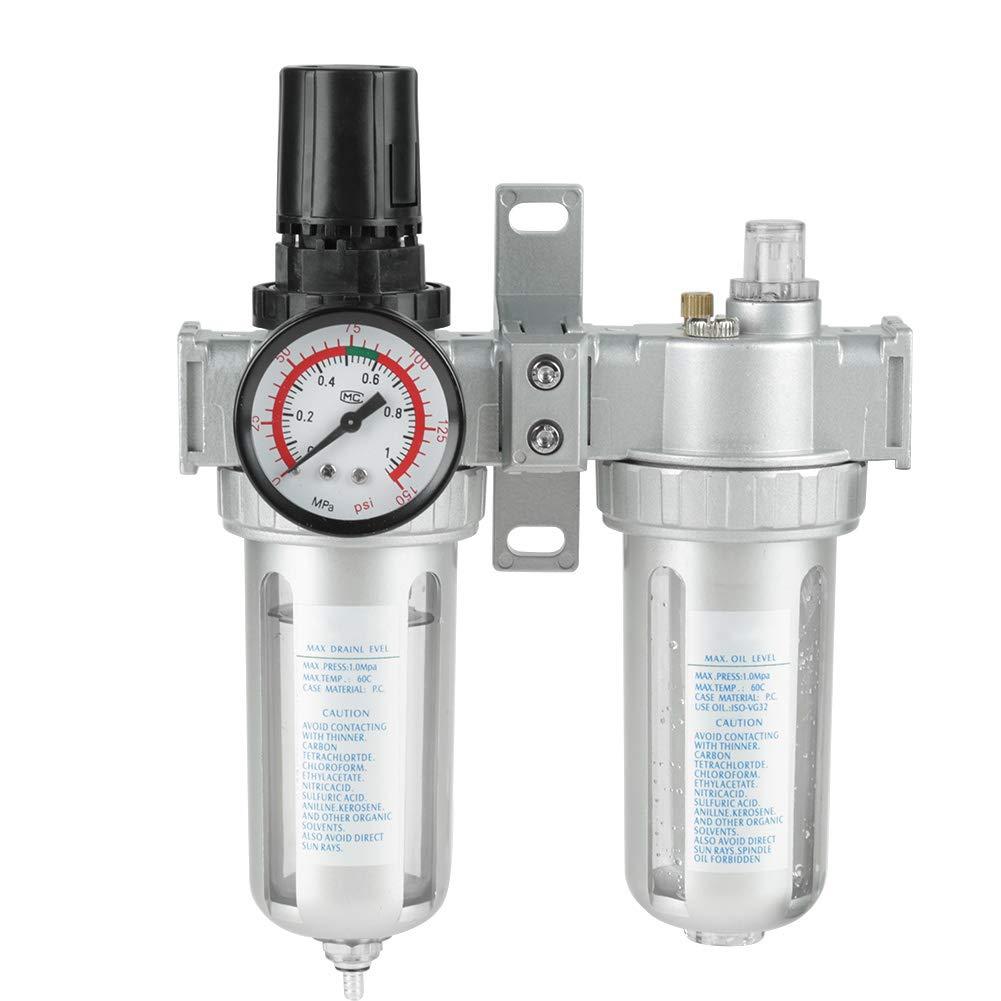 Oil Water Filter, SFC400 1/2'' Air Pressure Compressor Filter Gauge Trap Oil Water Regulator Tools Kit by Estink