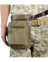 Leaokuu Mens Leather Travel Shoulder Sling Bag Fishing Hunting Heavy Duty Fanny Belt Waist Bag Pack Leg Bag