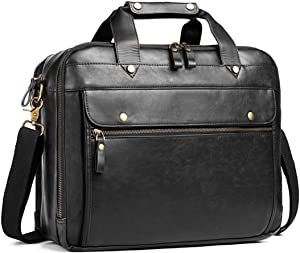 Leather Briefcase for Men Laptop Bag 15.6 Inch Large Waterproof Retro Business Travel Messenger Bag,Perfect Perfect Fathers Day Gifts for Dad/Gifts For Husband (Black)